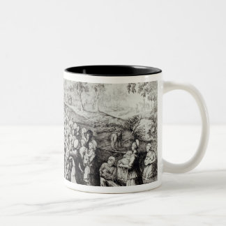 Meeting in the Desert, engraved by L. Bellotti Two-Tone Coffee Mug