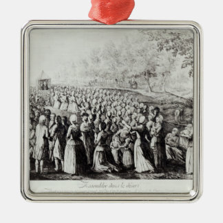 Meeting in the Desert, engraved by L. Bellotti Square Metal Christmas Ornament