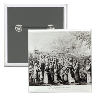 Meeting in the Desert, engraved by L. Bellotti Pinback Button