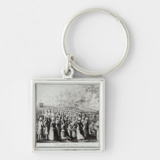 Meeting in the Desert, engraved by L. Bellotti Silver-Colored Square Keychain