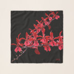 "&quot;Meeting Long Red Orchids&quot; Square Scarf<br><div class=""desc"">First Scarf in the GrapevineBoutiques Series. Two stems of red orchids meeting off center with a three initial monogram. Design by Claudine Boerner, 2018 All Rights Reserved. This pattern is available in the three square versions and also with a white background. A separate long and longer scarf is also available...</div>"