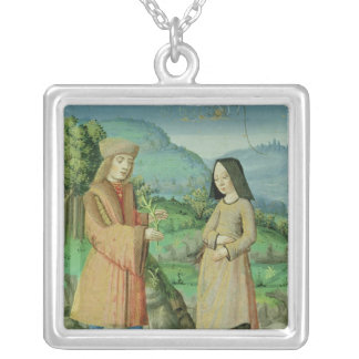 Meeting of Aeneas and Anne, the sister of Dido Square Pendant Necklace