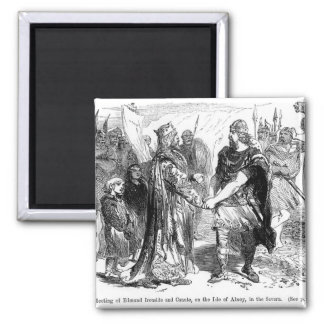Meeting of Edmund Ironside  and Canute 2 Inch Square Magnet