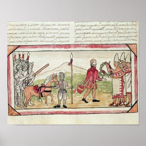 Meeting of Hernando Cortes  and Montezuma Poster