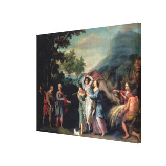 Meeting of Jacob and Laban with Rachel, Leah and S Canvas Print