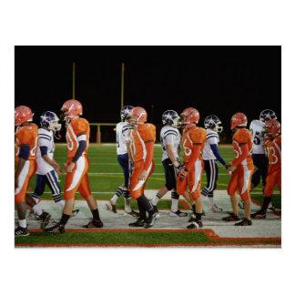 Meeting of teams of American football in field, Postcard