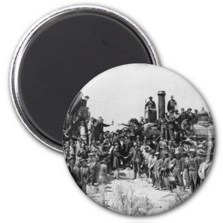 Meeting of the Rails - Promontory Point Utah 1869 2 Inch Round Magnet