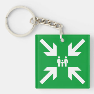 Meeting Point white on green Family Keychain