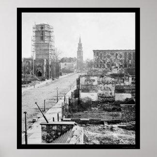 Meeting Street and Church Ruins in Charleston 1865 Print