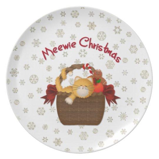 Meewie Christmas Kitty Plate