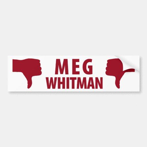 Meg Whitman not for Governor of California Car Bumper Sticker