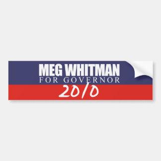Meg Whitman para el gobernador 2010 Pegatina Para Auto