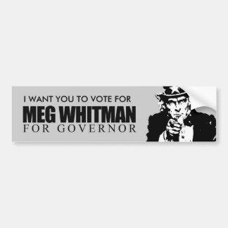 Meg Whitman para el gobernador Pegatina Para Auto