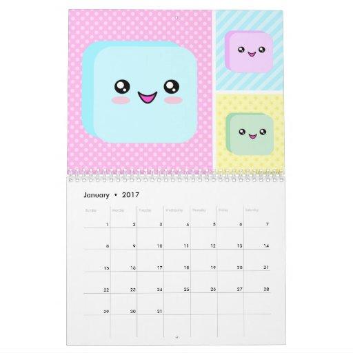 Kawaii Calendar 2017 | Calendar Template 2016
