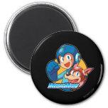 Mega Man & Rush 2 Inch Round Magnet