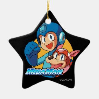 Mega Man & Rush Ceramic Ornament