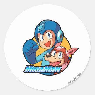 Mega Man & Rush Classic Round Sticker