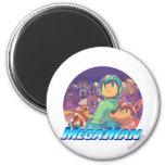 Mega Man & Rush Key Art 2 Inch Round Magnet