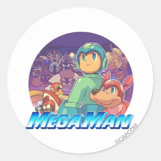 Mega Man & Rush Key Art Classic Round Sticker
