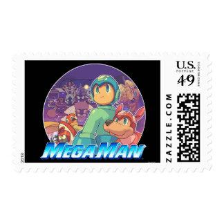 Mega Man & Rush Key Art Postage Stamp