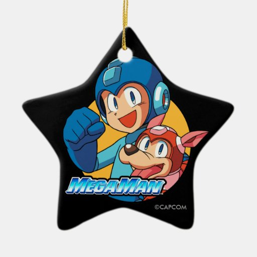 Mega Man & Rush Double-Sided Star Ceramic Christmas Ornament
