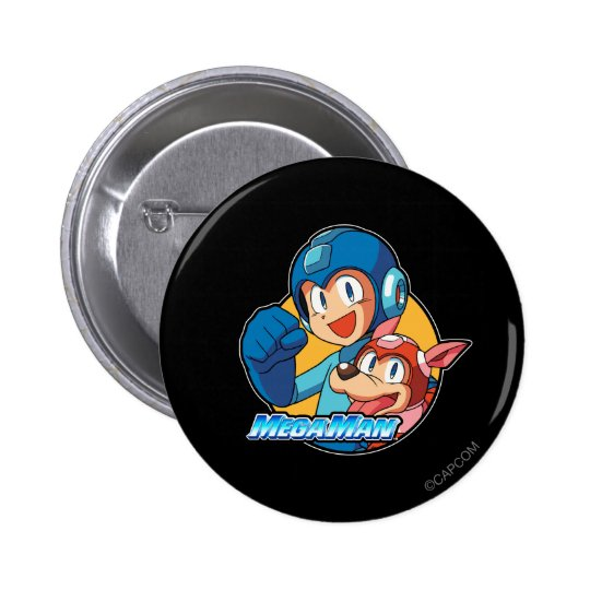 Mega Man & Rush Pinback Button