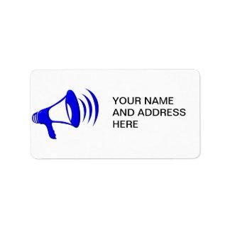 Megáfono - añada sus propias palabras etiqueta de dirección