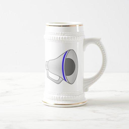 Megáfono azul jarra de cerveza