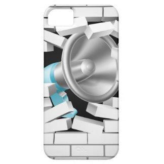Megáfono que rompe la pared de ladrillo funda para iPhone 5 barely there