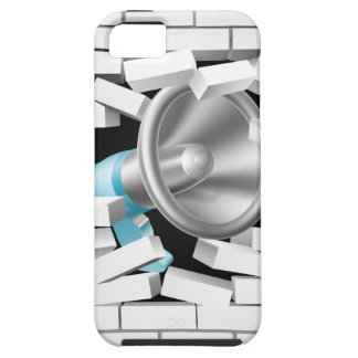 Megáfono que rompe la pared de ladrillo iPhone 5 funda