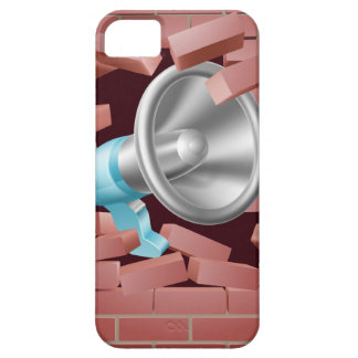 Megáfono que se rompe a través de la pared de funda para iPhone 5 barely there