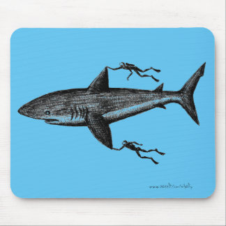 Megalodon shark and divers cool ink pen drawing mouse pad