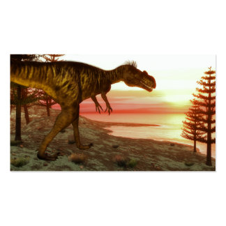 Megalosaurus dinosaur walking toward the ocean business card