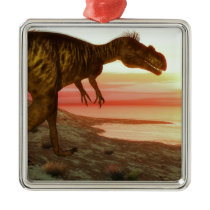Megalosaurus dinosaur walking toward the ocean metal ornament