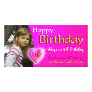 Megan Birthday Photo Invitation | Adorable heart