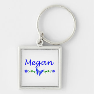 Megan (Blue Butterfly) Silver-Colored Square Keychain