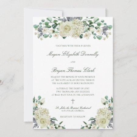 Megan Elegant Greenery Catholic Wedding Invitation
