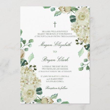 Megan Elegant Greenery & Cross Catholic Wedding Invitation