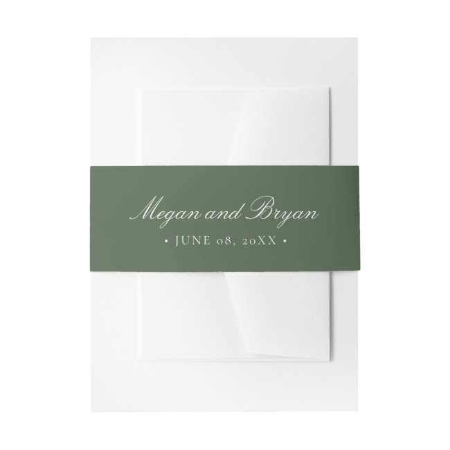 Megan Elegant Simple Green Names Wedding Invitation Belly Band