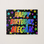 "[ Thumbnail: ""Megan"" First Name, Fun ""Happy Birthday"" Jigsaw Puzzle ]"