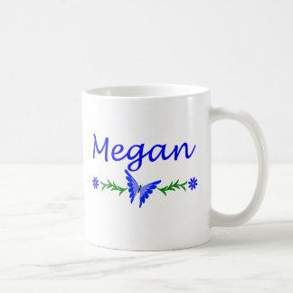 Megan (mariposa azul) taza básica blanca