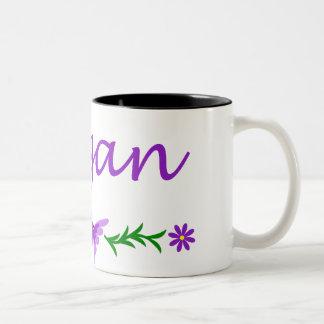 Megan (mariposa púrpura) taza dos tonos