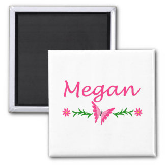 Megan (mariposa rosada) imán cuadrado