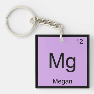 Megan Name Chemistry Element Periodic Table Single-Sided Square Acrylic Keychain