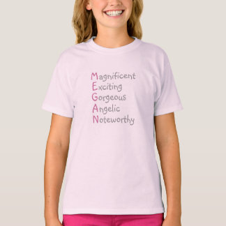 Megan - Personalized Pink Acrostic with Qualities T-Shirt