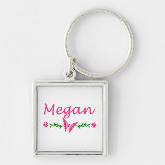 Megan (Pink Butterfly) Silver-Colored Square Keychain