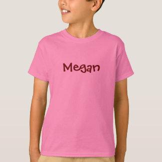 Megan Pink Girls Name Shirt With Black Cherry Text