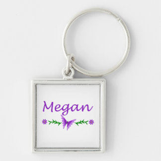 Megan (Purple Butterfly) Silver-Colored Square Keychain