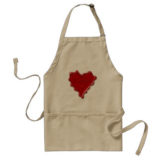 Megan. Red heart wax seal with name Megan Adult Apron