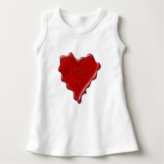 Megan. Red heart wax seal with name Megan Dress